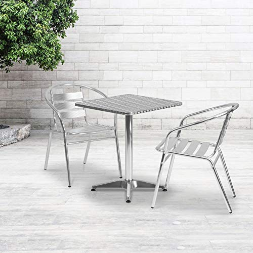 Flash Furniture 23.5'' Square Aluminum Indoor-Outdoor Table with Base