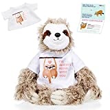 InFLOATables Sloth Stuffed Animal - Giant Three-Toed Plush Sloth with I'll Always Hang with You Removable T-Shirt - Soft and Cuddly Plush Gift with Customizable Birth Certificate - Cute Birthday Gift