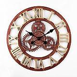 Kuingbhn Equipo de Viento Industrial de Madera Reloj de Pared Grande Silencioso Reloj Numérico para Cocina La Sala de Esta Dormitorio Cocina Oficina Estudio Hotel 50cm de Diámetro Rusty Rome