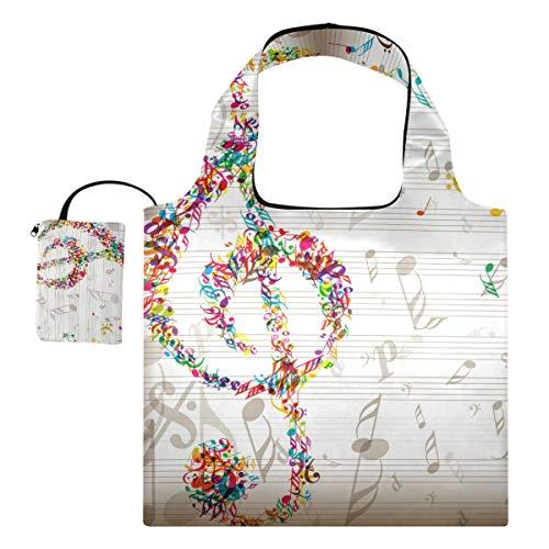 USAKI エコバッグ 音符 音楽 ホワイト 折り畳み 買い物バッグ ショッピングバッグ 大容量 軽量 プレゼント