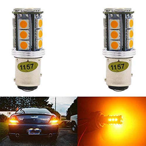 2-Pack 1157 BAY15D 7528 2057 2357 P21/5W Extremely Bright Amber/Yellow LED Light 12V-24V DC,5050 18 SMD Car Replacement For Parking Turn Signal Light Lamps Tail BackUp Bulbs