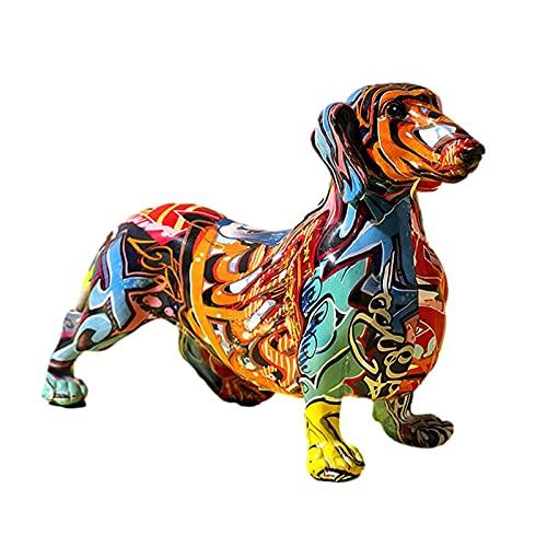 Pisamhid Dekofigur Hunde Figur Figuren Gartenfigur Hund Accessoires Bunte Hund Ornament Tierfigur Handwerk Heimtextilien Basteldekoration Geschenke Für Teens