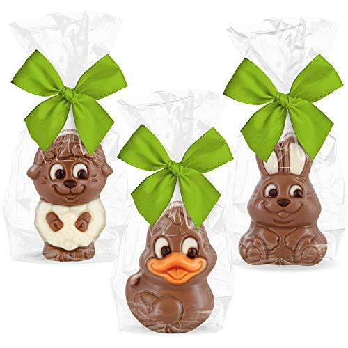 3 süße Tierfiguren aus Schokolade - Set mit Hase, Ente und Lamm - einzeln verpackt mit Schleife
