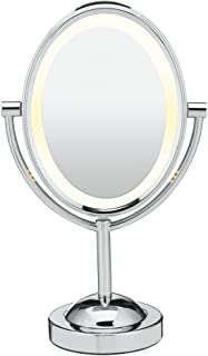 Conair Reflections Double-Sided Lighted Vanity Makeup Mirror, 1x/7x magnification, Polished Chrome
