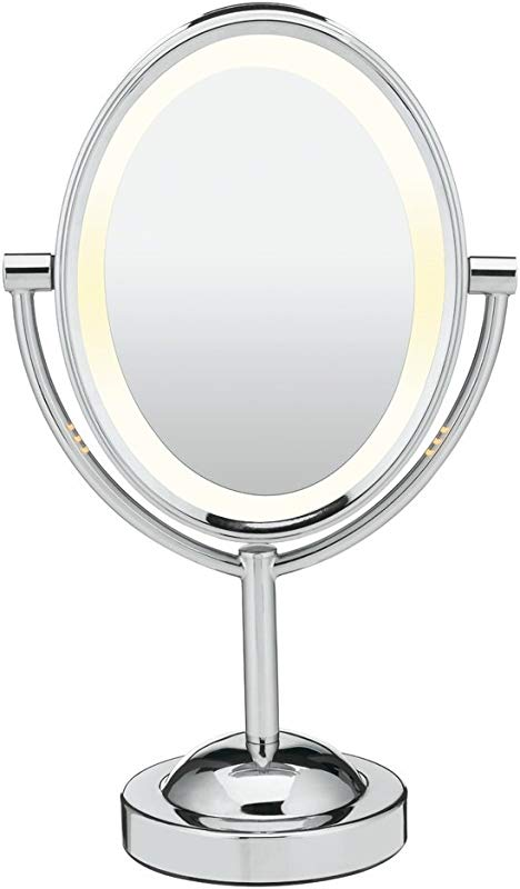 Conair Double Sided Lighted Makeup Mirror Lighted Vanity Mirror 1x 7x Magnification Polished Chrome Finish