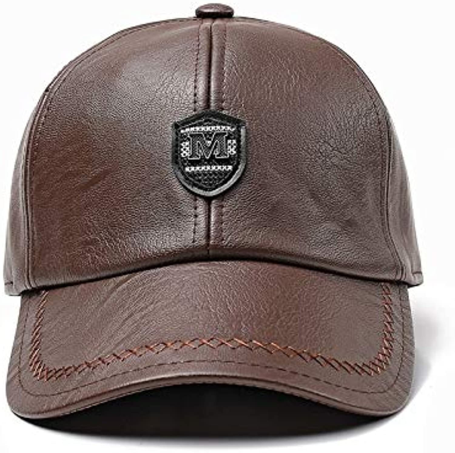 AAMOUSE Baseball Cap New Winter Leather Baseball Cap snap Back hat for Men Casual Baseball Cap Winter Dad Hat