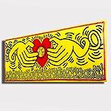 Quadro moderno KEITH HARING Pop Art Pop-Art giallo cuore Love RIPRODUZIONE STAMPA SU TELA Quadri Moderni Moderno Arte Astratto Cucina Soggiorno Camera da letto printerland.it (40x100 cm)