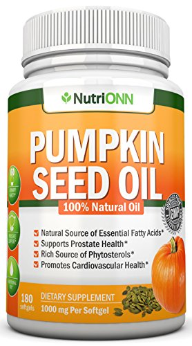 Pumpkin Seed Oil - 1000MG - 180 Softgels - Cold-Pressed Natural Pumpkin Seed Oil - Natural Source of Essential Fatty Acids - Great for Hair Growth, Prostate Health, Joint Inflammation and GI Tract …