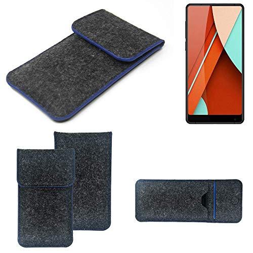 K-S-Trade® Handy Schutz Hülle Für Bluboo D5 Pro Schutzhülle Handyhülle Filztasche Pouch Tasche Case Sleeve Filzhülle Dunkelgrau, Blauer Rand