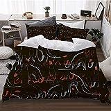 WOTAKA Bedding de Cama,Zapatos de tacón Alto pintalabios y la Palabra Belleza,Microfibra (Funda Nórdica 140 x 200cm + 2 Funda de Almohada 50 x 91 CM)