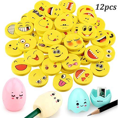 WENTS 12 Pezzi Emoji Emoticon Gomma e 3 Pezzi Temperamatite di plastica a forma di uovo per forniture per ufficio sacchetto per la ricompensa in classe scolastica regalo per feste