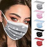 50 Stück Einmal-Mundschutz, Staubs-chutz Atmungsaktive Mundbedeckung, Erwachsene, Bandana Face-Mouth Cover Sommerschal (Sterne)