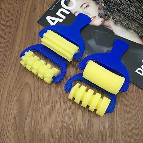 MAJGLGE 4 piezas de esponja rodillo de pintura DIY para niños, herramienta de pintura para niños preescolares, color azul