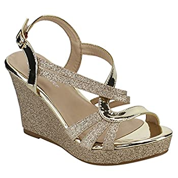 Forever FQ22 Women s Glitter Strappy Wrapped Wedge Heel Platform Sandals Color Gold Size 9