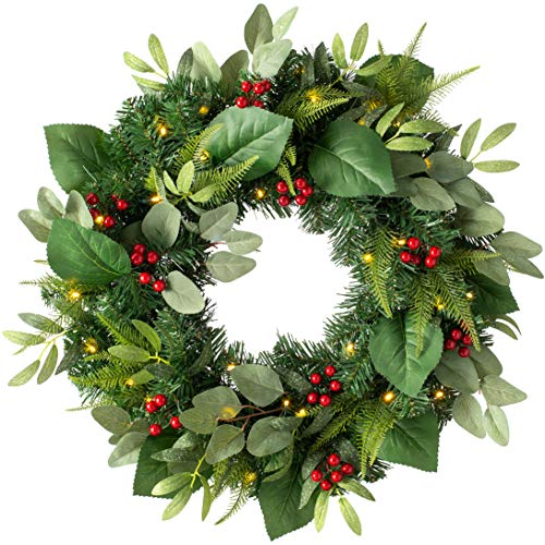WeRChristmas Pre-Lit Eucalyptus and Berry Decorated Wreath with LED Lights, Green, 60 cm