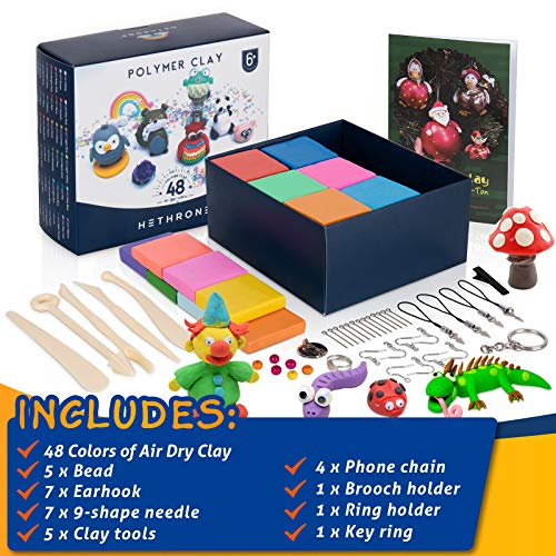 Hethrone Backton Kit 48 Farben Magic Clay für Kinder Modelliermasse Kreative Kunst DIY Handwerk