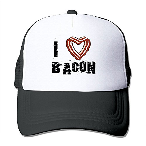 GCUPOI LMER Unisex-Adult I Heart Bacon Two-Toned Dancing Caps Black