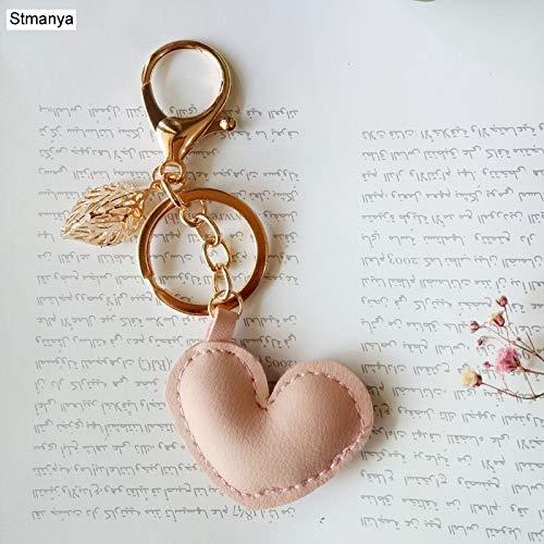 Yzymyd Llavero de piel con forma de corazón para mujer, diseño de estrella de mar, pentagrama, con colgante de hoja (color: rosa1)