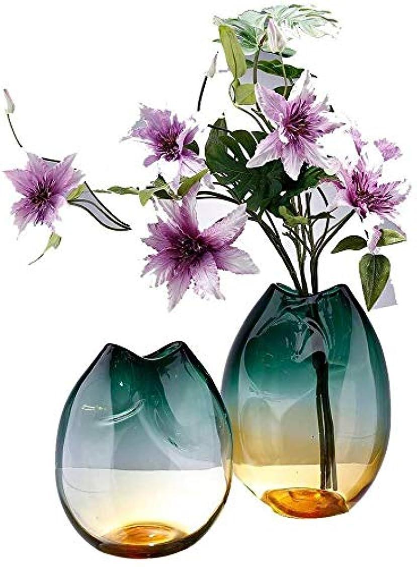 ぞっとするような壊滅的な動機花器 ガラスの花瓶手作りの花瓶グラデーション肥厚ダイヤモンドスター21 *の25センチメートル 花瓶 (Size : 2PCS)