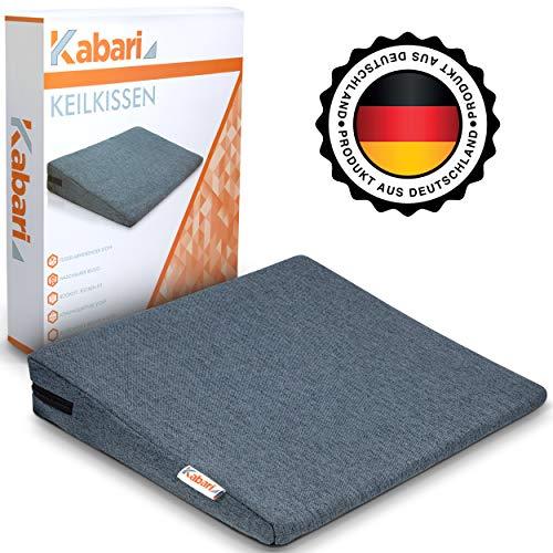 Kabari ® Orthopädisches Keilkissen - Mit fusselabweisendem Bezug - Waschbares und atmungsaktives Material - Mit Gratis E-Book gegen Rückenbeschwerden - Optimal zur Besserung der Haltung