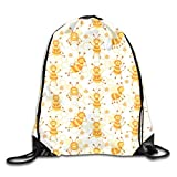 show best Busy Bees White Drawstring Gym Bag for Women and Men Polyester Gym Sack String Backpack for Sport Workout, School, Travel, Books 14.17 X 16.9 inch