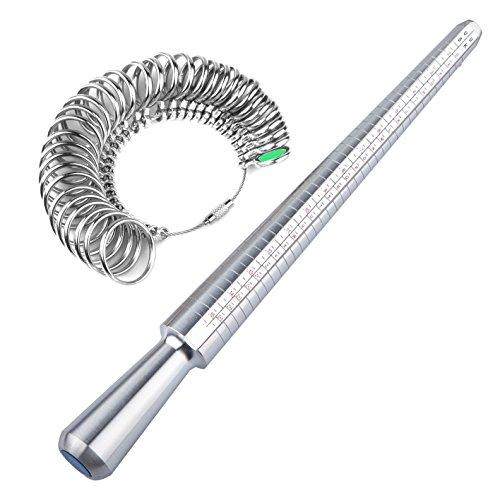 TRIXES Medidor para Reino Unido Anillos Dedo Mandril Calibrador Kit Herramientas Joyería Calibrador Anillo de Compromiso