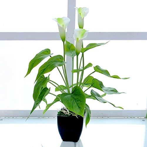Arbeflo 鉢植え造花 人工観葉植物 インテリア 飾り 人工 フェイク グリーン 植物 お誕生日 お祝い ギフト プレゼント (ホワイト)