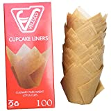 Baking Paper Cups Cupcake Muffin Liners Wrappers, Tulip shaped, unbleached and chemical free by Velesco