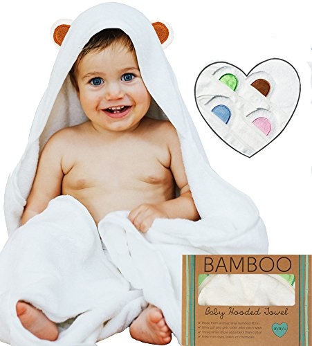 Hooded Baby Towel and Washcloth Set | Extra Soft Organic Bamboo for Infant, Toddler, Newborn...