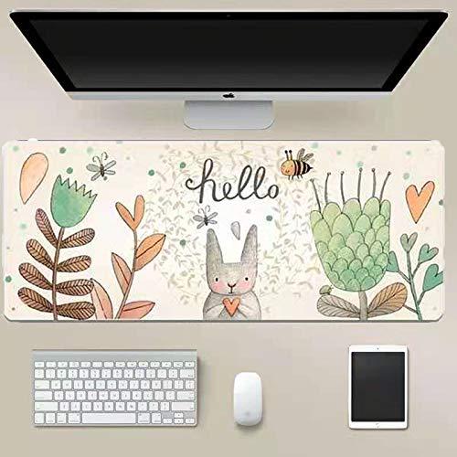 Tappetino Mouse Gaming Grande, Sottomano da Ufficio,Mouse Pad, Resistente all'Acqua con Superficie Liscia, Base in Gomma Antiscivolo, Bordi Cuciti per Tastiera, Laptop-80*30*3CM-Modello di coniglio