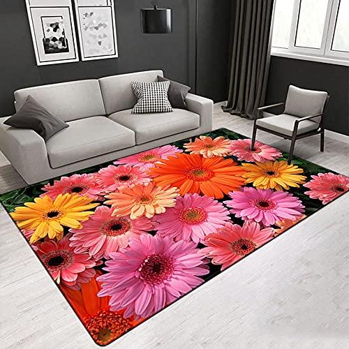 Flor De Crisantemo Alfombra Antideslizante Impresa En 3D 120X170 Cm Alfombra De Franela Suave,Adecuada para Sala De Estar Y Dormitorio