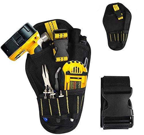 BUYGOO Werkzeugtasche mit verstellbar Gürtel - Werkzeughalter Akkuschrauber Werkzeuggürtel für Aufbewahrung Werkzeugen Schlaufen Bohrern, multifunktional Oxford wasserdicht für Elektriker Schreiner