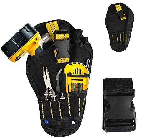 BUYGOO Portable Drill Holster with 1.5m/5ft Adjustable Belt Durable Drill Belt Holder Small Drill Bag for T Handle Drills, Screwdriver, Hammer, Wrench