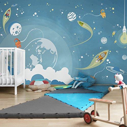 Apalis Kindertapeten Vliestapeten Nummer MW16 Buntes Weltraumtreiben Fototapete Breit | Vlies Tapete Wandtapete Wandbild Foto 3D Fototapete für Schlafzimmer Wohnzimmer Küche | blau, 94745