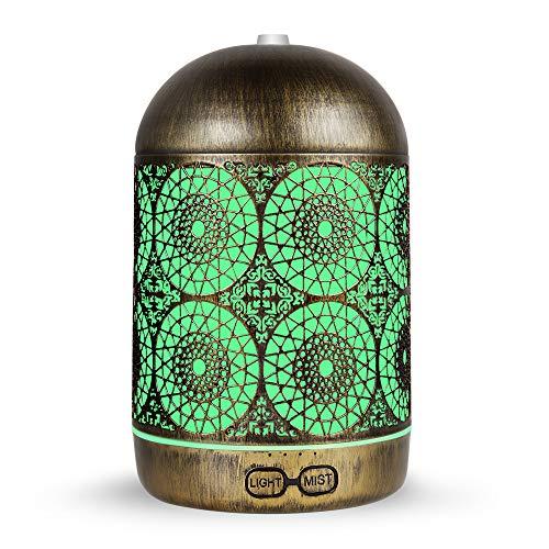 infinitoo Aroma Diffuser, 300ml Luftbefeuchter Metall Aromatherapie Diffusor für Ätherische Öle, mit 7 Farbe Licht Vintage Raumbefeuchter Duftlampe für Wohnzimmer Kinderzimmer Schlafzimmer SPA Büro