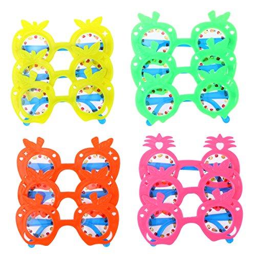 LUOEM Gafas de Sol de anteojos de Piña para Niños Gafas de Sol de Fiesta favorece Gafas de Ojo de Fruta de Hawaii para Hawai Decoración de Fiesta de Playa Luau, Paquete DE 12 (Color Aleatorio)