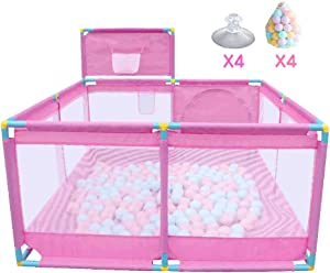 Babies Playpen Children s Play Fence Kids Protective Fence Safety Play Yard Deluxe Anti-Fall Non-Toxic Strong Durable Interactive Play Panel Indoor for 0-3 Ages Pink