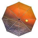 Sunset - Paraguas de viaje compacto, plegable, reversible, resistente al viento, protección UV, mango ergonómico, apertura y cierre automático