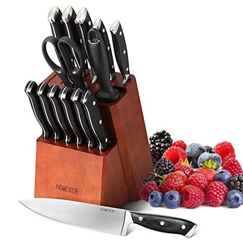 HOMEVER Messerblock Messer Set, 15-TLG Messerblockset Messerset mit Edelstahlklinge und Ergonomischem Pakkawood-Griff, Extra Scharf Edelstahl Küchenmesser Set mit Wetzstahl + Vielzweckschere