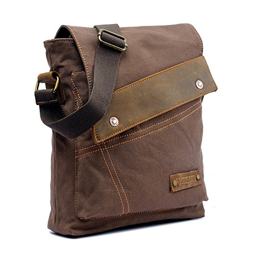 "Men's and women's Students Vintage Canvas bag Inclined shoulder bag multi-function Retro canvas bag leisure travel bag, Messenger Bag backpack Single shoulder bag Briefcase Laptop Bag Satchel fit for ipad sumsang and other brand tablet Size:30CM(11.81"")X6CM(2.36"")×32CM(12.6"") (coffee)"