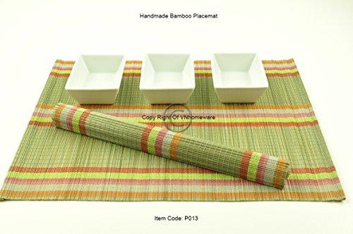 6 faite à la main en bambou Sets de table, sets de table, Lot de 6, vert sauge, P013