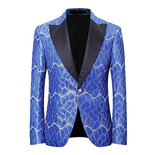 YOUTHUP Herren Smoking Anzüge Dinner Jacket für Party Bühnenperformance Abschlussball Blau XXXXXL