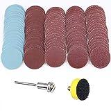 Disco de lija de 25mm, 2,54cm, granos 100, 180, 240, 1500, 3000 con placa de pulido abrasiva de 2,54cm + vástago de 0,32cm para herramienta rotativa Dremel