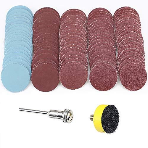 Schleifscheiben 25 mm, Körnung 100, 180, 240, 1500, 3000, mit 2,5 cm Schleifpoliturplatte + 1/8-Zoll-Schaft (3,2 mm) für Dremel, Rotationswerkzeug