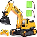 DOUBLE E Remote Control Excavator Toy 2 Rechargeable Batteries Hydraulic RC Excavator Construction Vehicles Tractor with Working Sounds for Boys Girls Kids by DOUBLE E