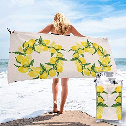 FLDONG Toalla de secado rápido de microfibra con impresión de limón, ultra suave, compacta, ligera, adecuada para camping, gimnasio, playa, natación, yoga, hogar 81.5 x 163 cm