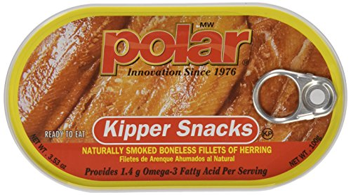 Polar Kipper Snacks - Smoked & Boneless Herring Fillets, 3.53 oz can (Pack of 3)