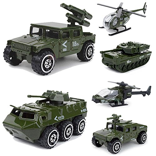 Diecast Army Vehicle Playset Kids Model Car Military Toys Helicopter Tank Truck Armored Car Gift for Boys Toddlers