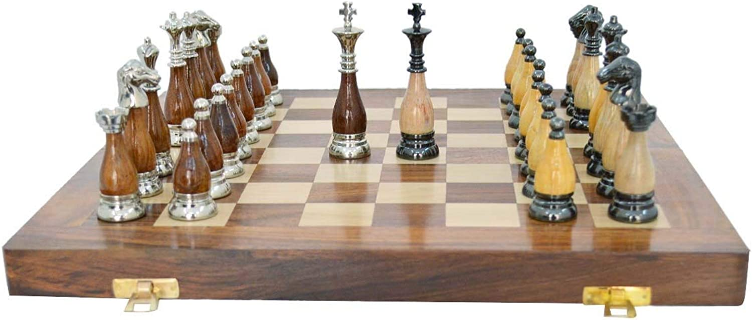 Fasherati Chess Board Set - Brass & Wood Chess Board ,35 x 35 x 5 cm ,2.8 kg