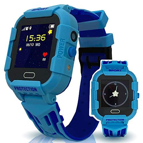 Calmean - Reloj inteligente digital deportivo para niños con GPS, WiFi y LBS rastreador con aplicación para iOS y Android, resistente al agua IP67, con cronómetro y cámara fotográfica (azul)